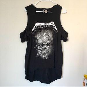 Divided Metallica Black Cold Shoulder T-Shirt